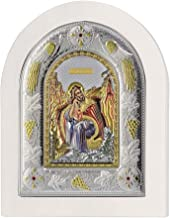 Prophet Elijah - Orthodox silver plated hand crafted icon with gold & colors on White wood - Mounting point and stand included