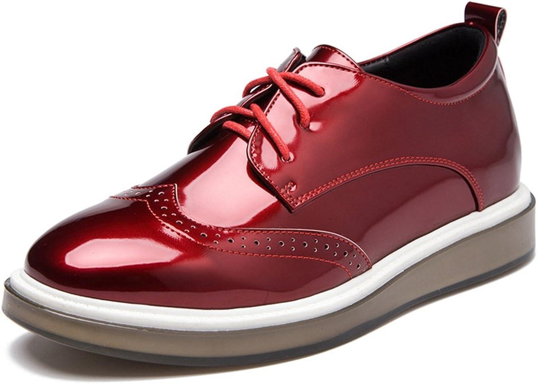 Hoxekle mode kvinnor svart grå röd Perforöd    Glassy  Wingpipt Oxford skor  Vintage Oxford skor  försäljning online