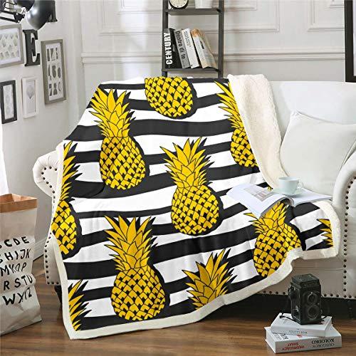 Loussiesd - Manta de felpa para sofá, diseño de piña y piña, color negro, blanco, manta de forro polar, diseño de rayas, color dorado