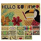 LucaHome - Felpudo Coco Natural 40x70 Antideslizante, Felpudo de Coco Hello Summer, Felpudo Absorbente Entrada casa, Ideal para Exterior o Interior