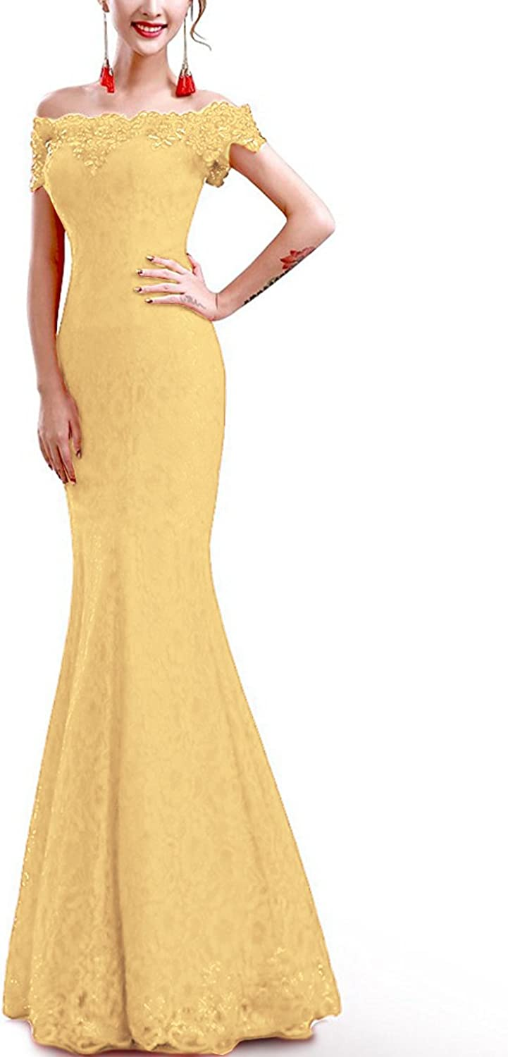 Special Bridal Off Shoulder Sleeveless Yellow Lace Mermaid Bridesmaid Dress Prom Party Dress