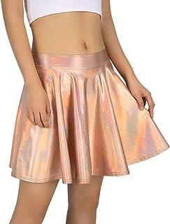 7edf134b00 HDE Women s Shiny Liquid Metallic Holographic Pleated Flared Mini Skater  Skirt