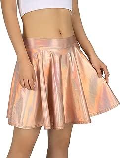 Women's Shiny Liquid Metallic Holographic Pleated Flared Mini Skater Skirt