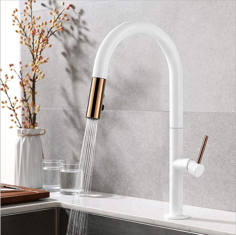 Küchenarmatur Pull Out Touch Kalt und Warm Mischbatterie Schwarz Wei Wasser Single Holder Wasserhahn Spüle Wasserhahn