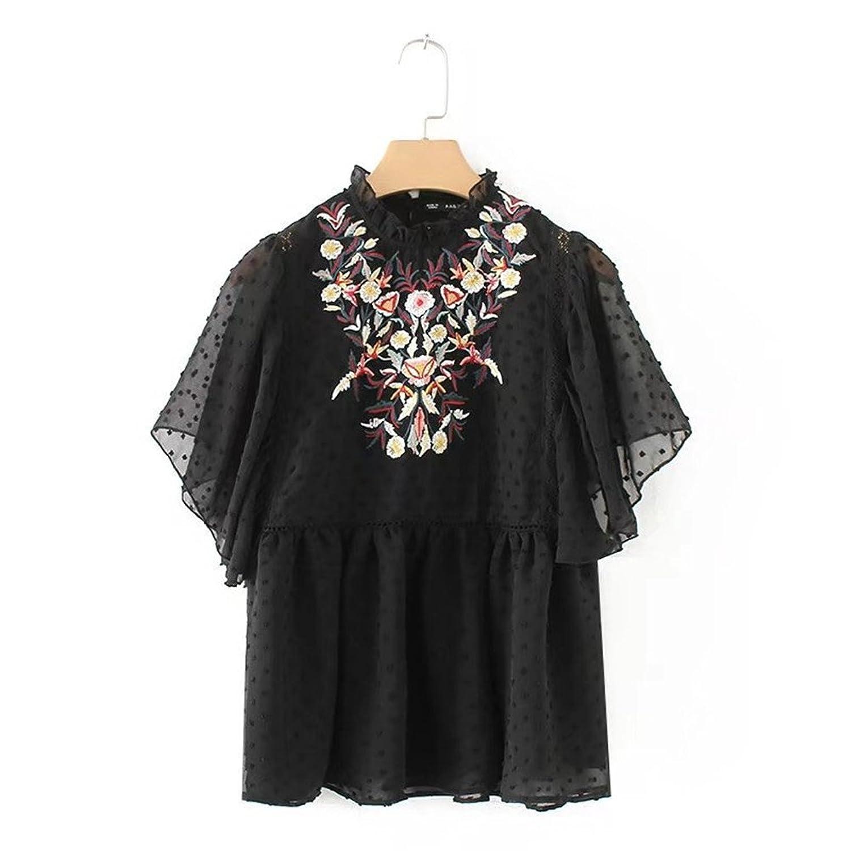 [美しいです] レディース 春 夏 ブラウス 長袖 フォーマル コットン 花柄 ゆったり 花柄 刺繍 シフォン