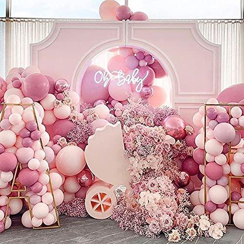 115 Palloncini per Feste, Kit di palloncini rosa viola bianco e palloncini di compleanno di coriandoli per Matrimonio, Anniversario,battesimo del bambino, Laurea, Decorazione Compleanno per Feste