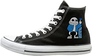 Jajade Unisex Sans Undertale Role-playing Video Game Character High Top Sneakers Canvas Shoes Design Sport Shoes Casual Style Black