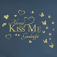 "VASZOLA - Adhesivo decorativo para pared, diseño de mariposas en 3D con texto en inglés ""Always KISS ME Goodnight"""