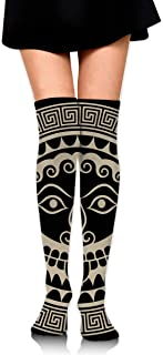 PIUDNHGU Ancient Greece Shield with Gorgon Medusa Head Personality Womens Girls Long Stockings Polyester 25.6in Cosplay Cute Boots Knee High Thigh Skirt Dress Party Socks Warm and Breathable,Sock