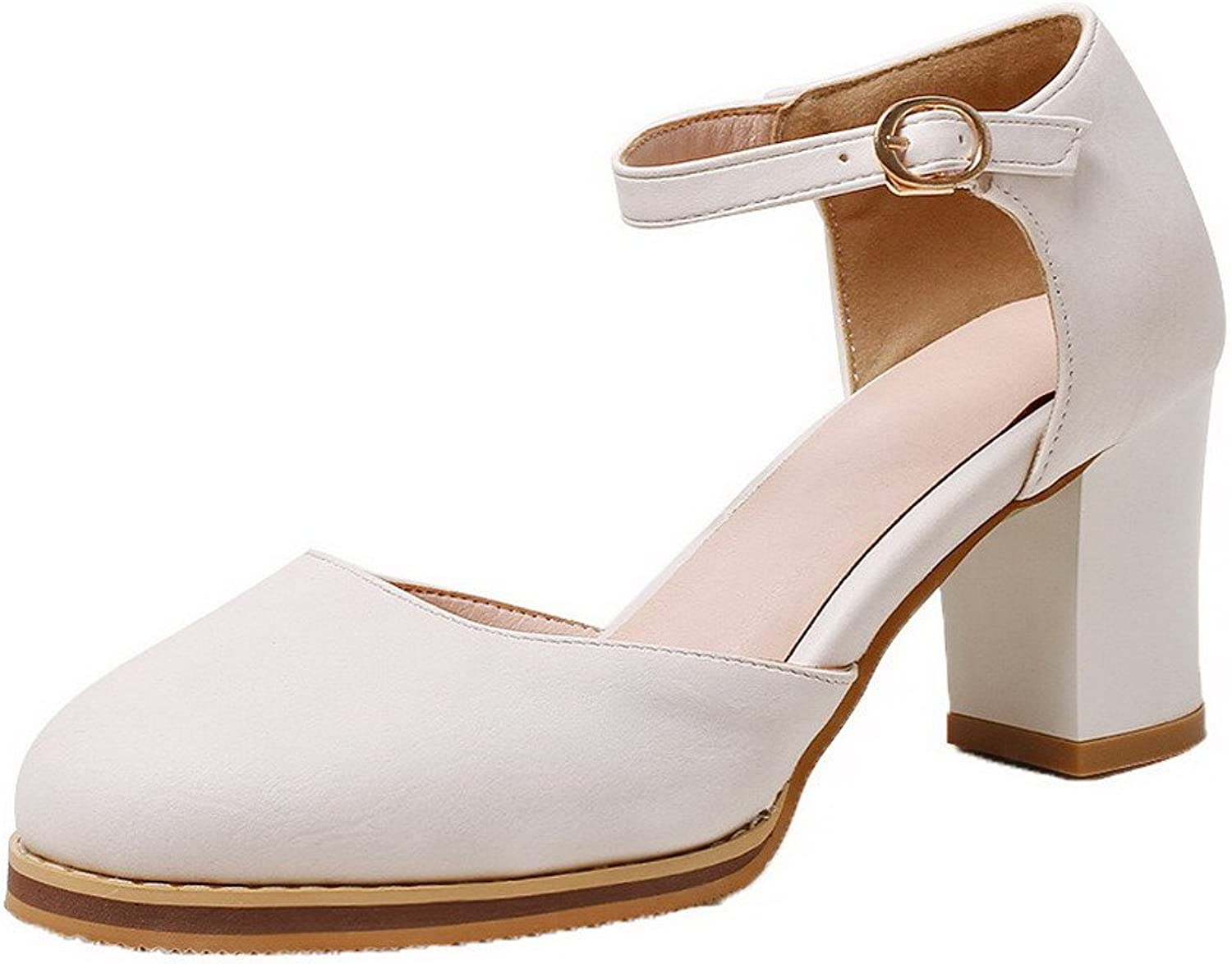 AmoonyFashion Women's Kitten-Heels Solid PU Buckle Round-Toe Sandals