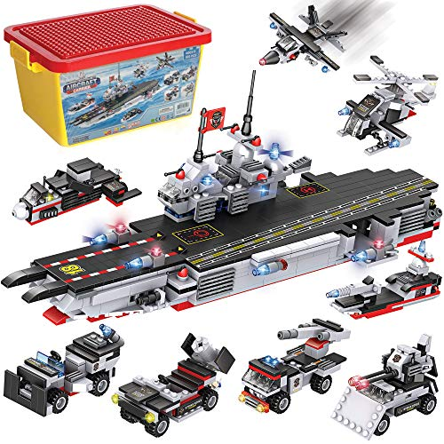 Military Aircraft Carrier Building Blocks Set | 8-in-1 Naval Battleship Model Toy Compatible Bricks Kit with Army Vehicles, Helicopter, Jet & Boats, Storage Box with Baseplate Lid for Kids