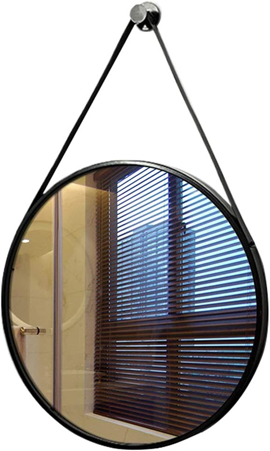 Round Metal Wall Mirror Hanging Bathroom Makeup Shaving Iron Mirrors Large Dressing for Apartment Living Room Bedroom (15.7 19.7 23.6 27.5 Inch)