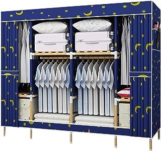 Armoire double grande capacité en bois massif pour chambre à coucher, penderie, penderie, cube profond avec barre de suspe...