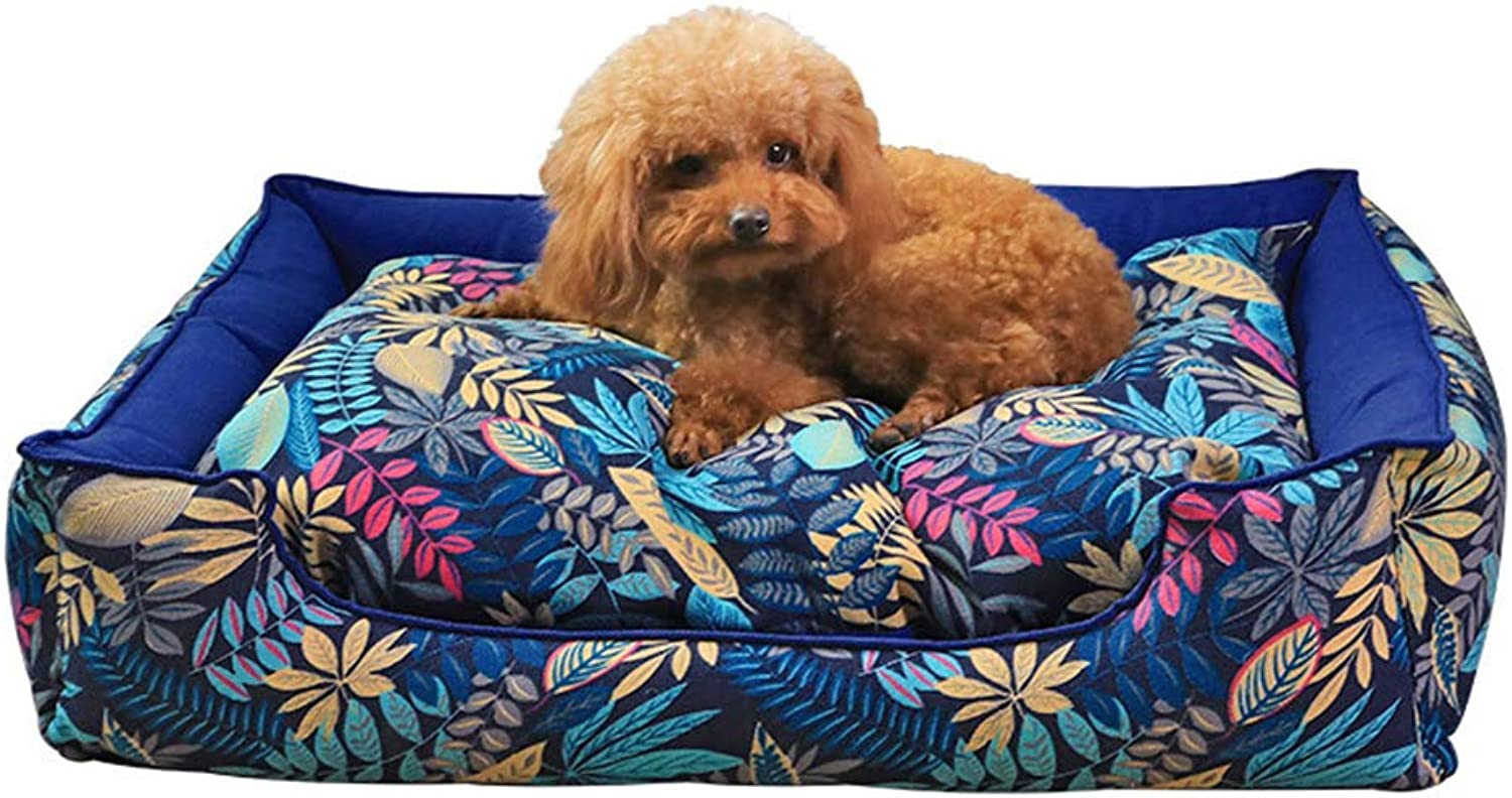 GKBMSP Dog Bed Rectangle Pet Bed Fully removable washable canvas PP cotton padding Moisture proof Deluxe Pet Bed for Cats and Small Medium Dogs