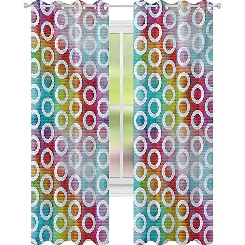 Cortinas para dormitorio, bandas ovaladas digitales sobre fondo vibrante, formas de burbujas en imagen fractal, cortinas de ventana W52 x L72 para sala de estar, multicolor