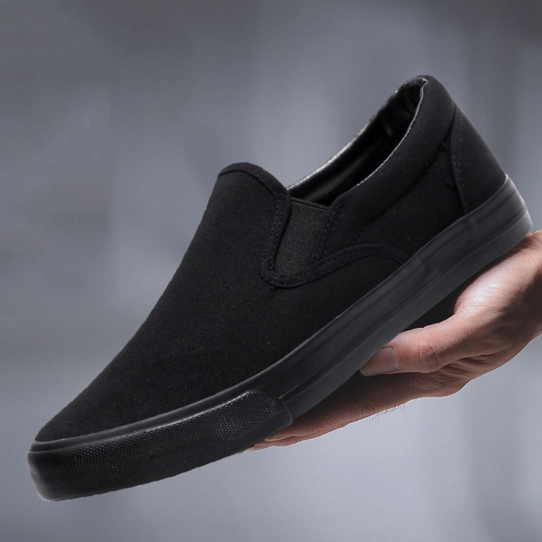 XFF Men's summer black canvas shoes men's shoes cloth shoes men's pedals lazy shoes men's casual shoes