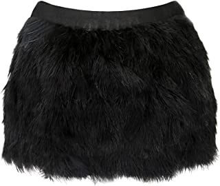 Miuco Womens Luxury Ostrich Feather Sexy Short Skirt