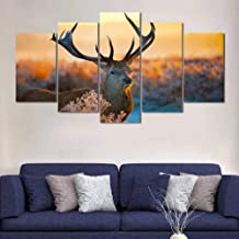 HUDEHUA Canvas Art Printed Painting Deer In The Woods Multi Panel Canvas Painting No frame