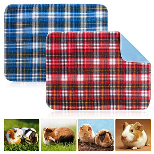 Geegoods Guinea Pig Cage Liners Guinea Pig Bedding Washable &Air Dried Pee Pads for Guinea Pig Fast Absorbent Waterproof Reduce Shrinkage Non-Slip 2 Pack 18'x 24'