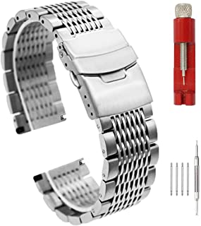 Heavy Brushed Stainless Steel Watch Band Middle Polished Mesh Bracelet Straps Deployment Clasp Double Locking Replacement Wristband for Men&Women 20mm/22mm/24mm Silver/Black