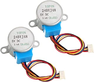 uxcell 2PCS 24BYJ48 DC 5V Reduction Stepper Motor Micro Reducer Motor 4-Phase 5-Wire 1/64 Reduction Ratio