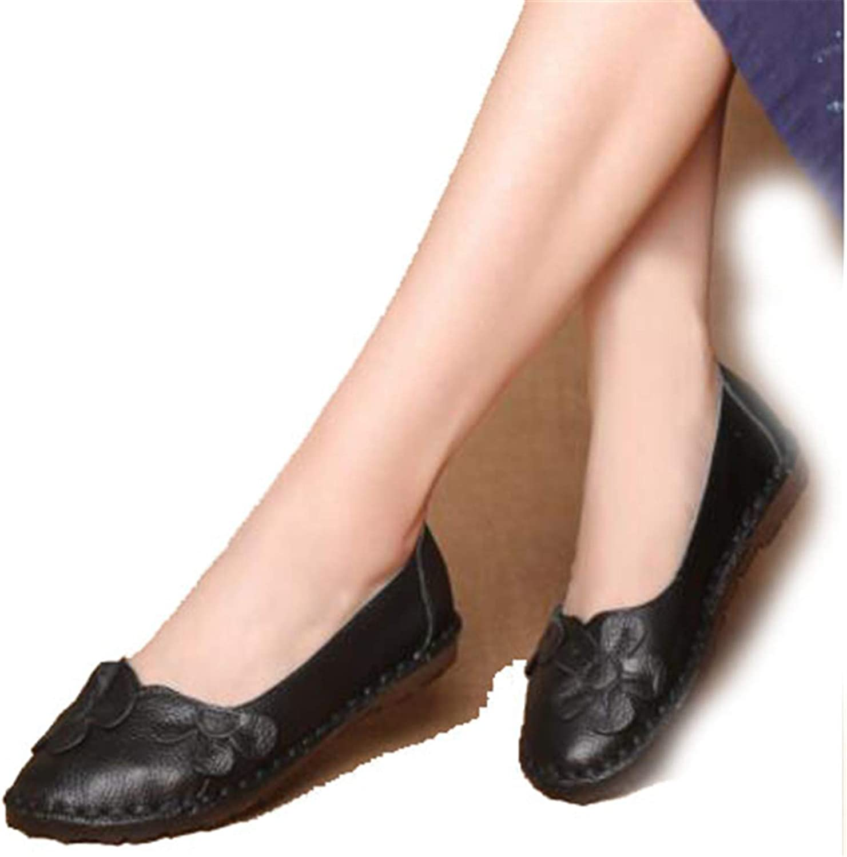 Light Elegant Spring Fashion Flower Design Round Toe Mix color Flat shoes Autumn Vintage Genuine Leather Women