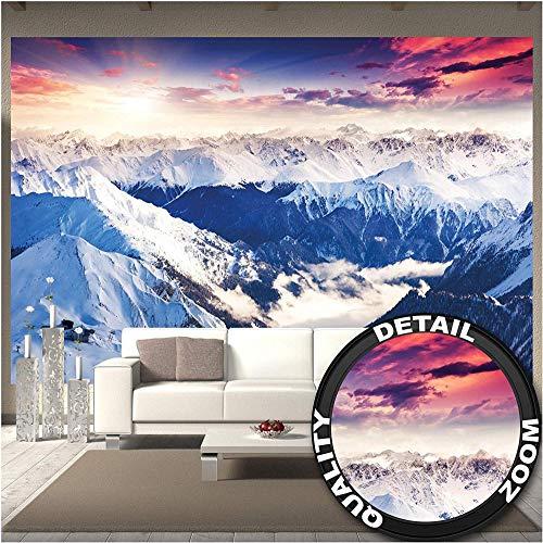 Pbbzl fotobehang - Alpen panorama fotobehang - decoratie winter zonsondergang sneeuw landschap natuur bergen gletsjer vloer muur poster fotoposter 350x250cm