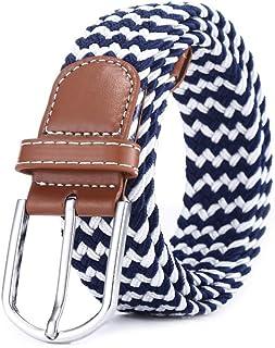 JPボウエキ風 ベルト メンズ 編み込み メッシュ ビジネス&カジュアル 伸縮 サイズ調整フリー ブルー/ホワイト 男女兼用 カジュアル ビジネス