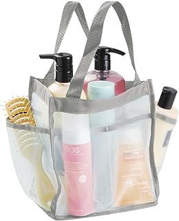 mDesign vattentät väska av kanvas/nät – vattenavvisande väska för dusch – perfekt strandväska, badrumsväska och trädgårdsv...