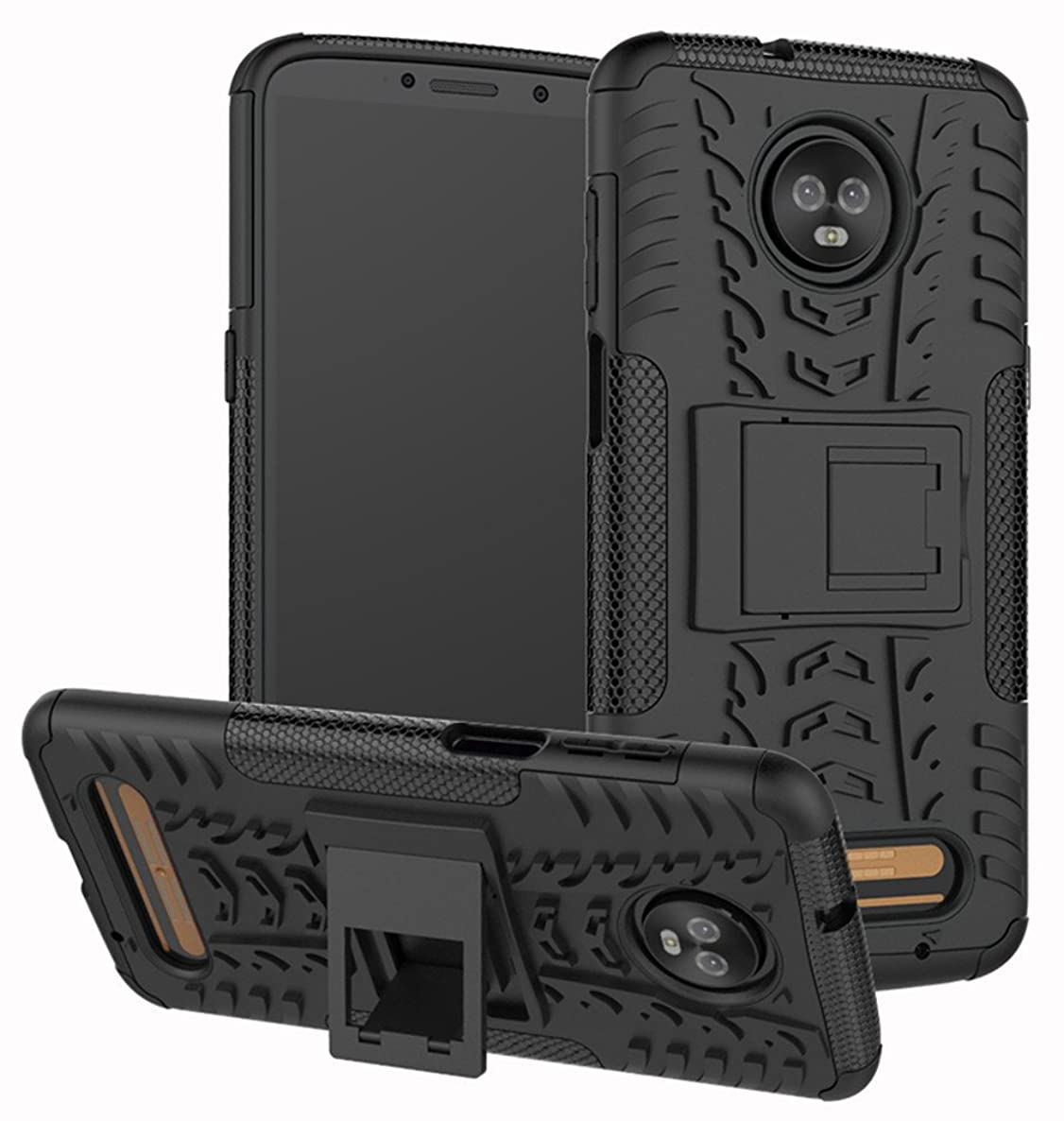 Moto Z3 Case, Moto Z3 Play Case, Yiakeng Dual Layer Shockproof Wallet Slim Protective with Kickstand Hard Phone Case Cover for Motorola Moto Z3 (Black)