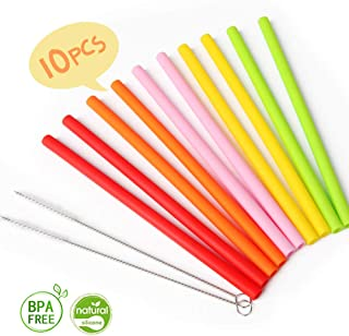 Reusable Silicone Straws for Toddlers, Opret 10pcs Short Kids Silicone Replacement Straws for Take n Toss Straw Cup, 10oz Yeti/Rtic/Lowball with Cleaning Brush
