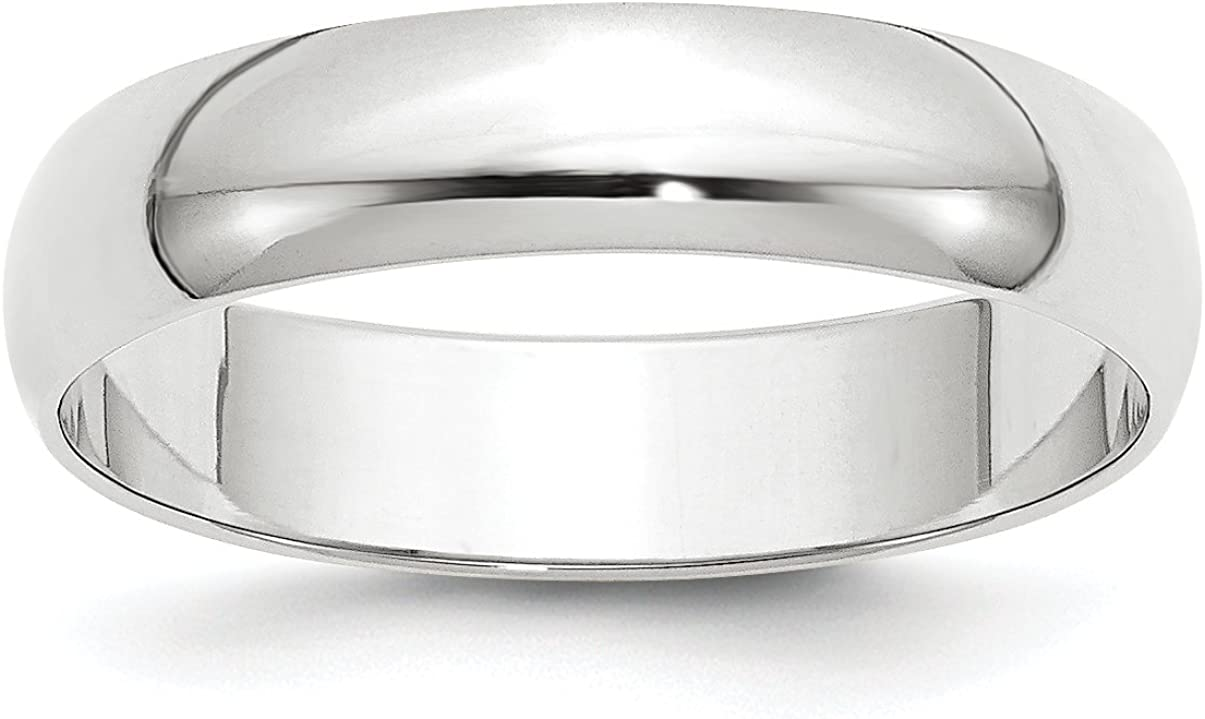 Solid 10k White Gold 5 mm Rounded Wedding Band Ring