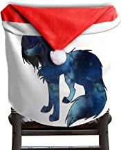 Ladninag Christmas Santa Claus Chair Back Cover Galaxy Fox Art Xmas Red Hat Cat Chairs Slipcovers for Kitchen Dinner Table Party Home Decor Room Holiday Festive Set of 4