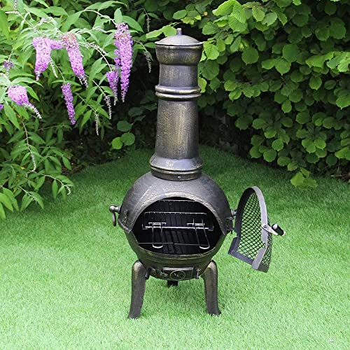 Chiminea Outdoor Patio Heater Garden Log Fire Pit Burner Wood Cast Iron Chimney Chimenea BBQ Frost Proof Spark Guard Rain Cover Poker Barbeque Toasting Rack | Bronze Effect | 110cm Tall