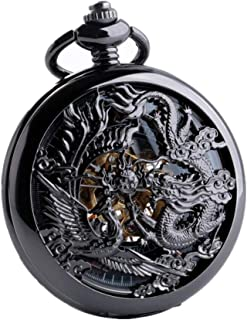 Avaner Antique Bronze Mens Dragon and Phoenix Dangle Quartz Pocket Watch with Chain 31 inches