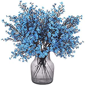 Momkids 6 Pcs Baby Breath Flowers Faux Artificial Gypsophila Bouquet Fake Silk Flower Real Touch Flower for Hotel Home Office Kitchen Bathroom Wedding Party DIY Decor (Bule)