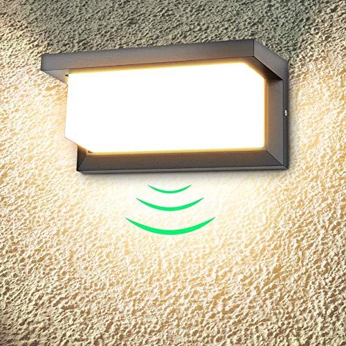 18W Applique Murale extérieure LED avec détecteur de Mouvement Moderne Étanche Applique extérieure 3000K Blanc Chaud LED Lampe Applique IP65 étanche 1260lm