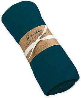 Oliver & Rain Muslin Swaddle Blanket - Dark Teal