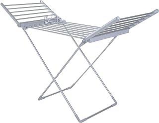 Séchoir étendoir à linge électrique chauffant pliable 20 barres 2 ailes repliables 230 W 50-55° C aluminium