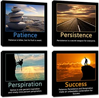 Innopics 4 Piece Motivational Quotes Inspirational Success Motto Canvas Painting Wall Art Patience Persistence and Perspiration Poster Print Framed Decoration for Home Living Room Office Bedroom Decor