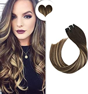 Ugeat Clip on Hair Extensions Remy Hair 14 Inch Color Off Black #1B to Brown #3 Mixed Blonde #27 Double Weft Hair Extensions Clip in 7p 120g Per Pack