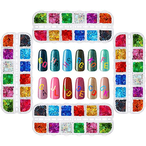 4 Packs 48 Boxes 3D Holographic Letter Nail Glitter, Nail Sequins Decals Flake Acrylic Manicure Paillettes Face Body Glitters for Nail Art Decoration, Resin Art, DIY Crafting