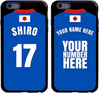 Custom Japan Flag Soccer Jersey Cases for iPhone 6 Plus / 6S Plus by Guard Dog – Personalized – Put Your Name and Number on a Phone Case. Includes Screen Protector (Black,Blue)