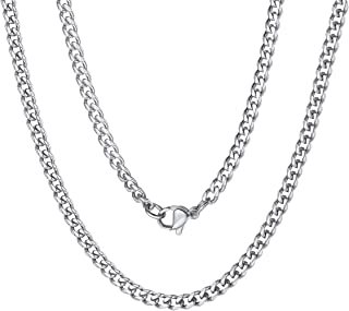 ChainsPro 3/4/6/9/12mm Box/Cuban Link Chain Necklace,14/18/22/24/26/28/30 inch, 316L Stainless Steel/18K Gold Plated/Black...