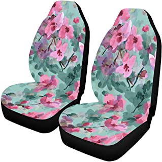 INTERESTPRINT Rose Poppy Cherry Blossoms Tulips Flowers Car Seat Covers Set of 2 Vehicle Seat Protector Car Covers for Auto Cars Sedan SUV