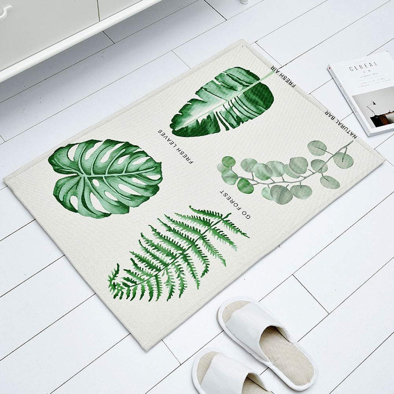 Door Mat Green Plant Entrance Door Mat Door Bathroom Bathroom Non-Slip Absorbent Floor Mat Home Mat -50  80cm (color   C, Size   50  80CM)