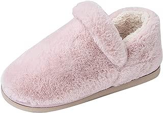 Liveinu Women's Furry Slippers Plush Fleece Long Pile Faux Fur House Shoes w/Indoor, Outdoor Anti-Skid Rubber Sole