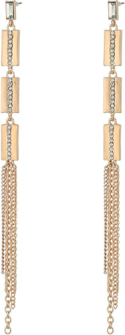 GUESS - Metal Chain Fringe Linear Earrings