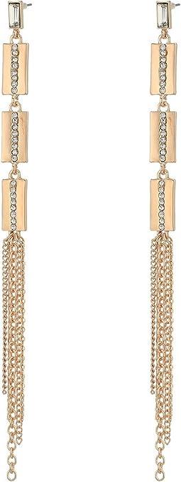 GUESS - Metal Chain Fringe Linear Earrings