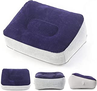 Travel Foot Rest Pillow - Leg Up Footrest for Travel Office & Home Leg Up Footrest Recliner Relax Cushion Blue